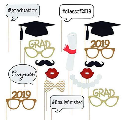 17PCS 2019 Graduation Grad Party Masks Photo Booth Props Mustache On A Stick by 7-gost