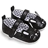 Cute Mouse 0-18M Baby Girl Leather Crib Shoes Anti-Slip Sneaker Black 13-18 Months