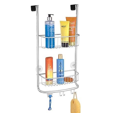 mDesign Estantería de ducha para colgar – Práctico colgador para ducha sin tornillos de metal inoxidable