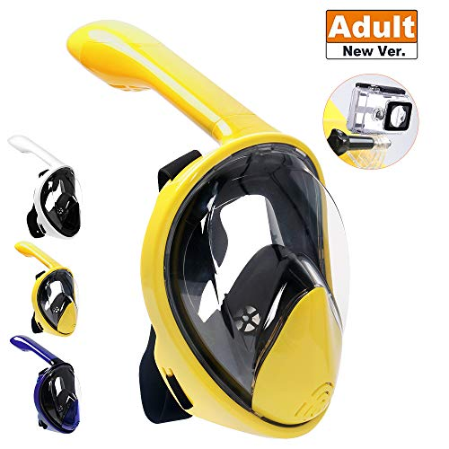 SCULLA Full Face Snorkel Mask 180° Sight Panoramic Dry Snorkeling Mask for Adults[Anti-Fog,Anti-Leak;Camera Mount,Drainage Valve,High Tenacity PC] (L/XL,Yellow)