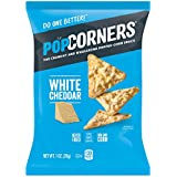 POPCORNERS White Cheddar Popped Corn Snacks, Gluten Free, Single-Serve Bags, 1oz (Pack of 40)