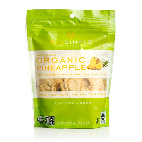 Sol Simple Organic Dried Pineapple 6oz, Pack of 2 ()