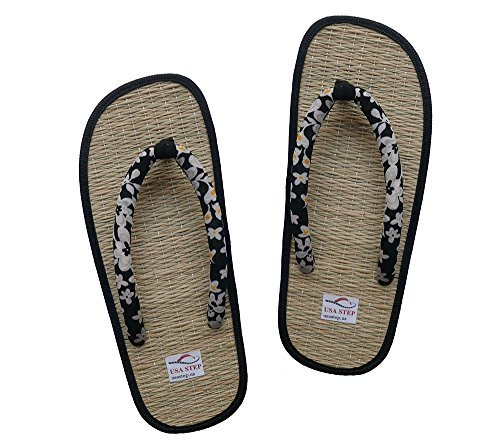 30591bd6666bb9 USA STEP Ladies Women Girls Handmade Fashion Indoor Outdoor Home Spa Hotel  Straw Seagrass Cozy Flip Flops Sandals Slippers Thong Black (37 M EU) - Buy  ...