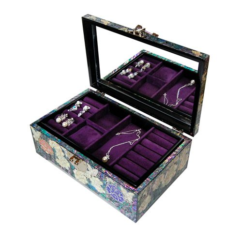 Silver J Wooden Lacquered Jewelry Box, Mother of Pearl Jewellery Box, Handmade Oriental Gift, Luxurious Peacock. by Silver J (Image #1)