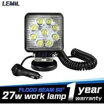 Lemil 27w Led Work Light 12v Portable Square Automotive