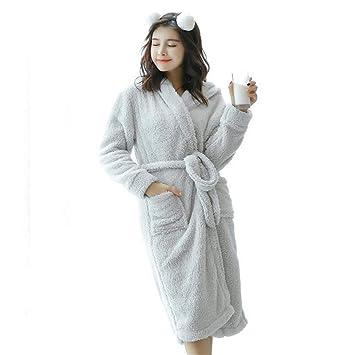 RGHOP Otoño Invierno camisón Mujer Larga Felpa Cálido Manga Larga Albornoz Bata Conjunto en casa,