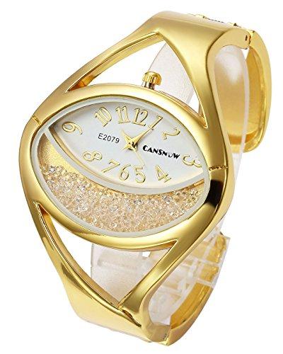Top Plaza Women Ladies Casual Luxury Gold Silver Tone Alloy Analog Quartz Bracelet Watch Oval Case Rhinestones Decorated Elegant Dress Bangle Cuff Wristwatch-Gold #1 Gold Oval Wrist Watch