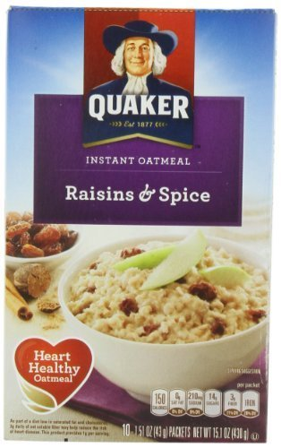 Quaker Instant Oatmeal Raisin& Spice, 10-Count 1.51oz Packets (Pack of 4) by Quaker Oatmeal [Foods] Quaker Raisins