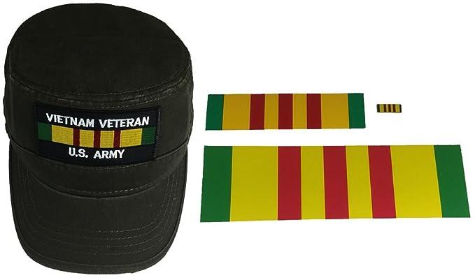 e6590d07 Combo Gift Set Vietnam Veteran U.S. Army Flat TOP Patrol Style Hat - Dark Olive  Green
