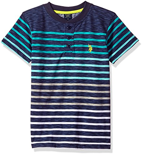 (U.S. Polo Assn. Boys Short Sleeve Striped Henley T-Shirt, slub Black Island Jade 10/12)