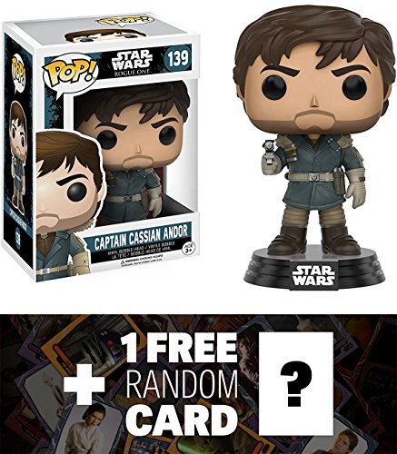 Captain Cassian Andor: Funko POP! x Star Wars Rogue One Vinyl Bobble-Head Figure w/ Stand + 1 FREE Official Star Wars Trading Card Bundle (104524)