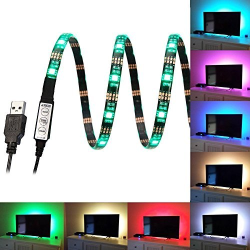 FAS1 RGB LED Strip Mood Lights USB TV Backlight - Adjustable Speed & Brightness - Waterproof 100CM 5V LED Lighting For Televisions, Desktop Computers, Fish Tank, Car Decoration