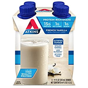 Atkins Creamy Vanilla Protein-Rich Shake. With High-Quality Protein. Keto-Friendly and Gluten Free. (4 Shakes)