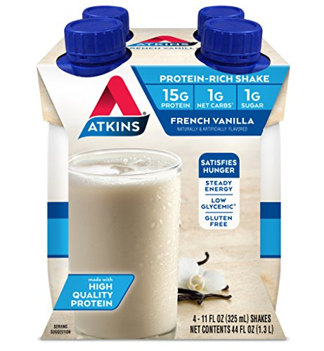 Atkins Gluten Free Protein-Rich Shake, French Vanilla, Keto Friendly, 4 Count