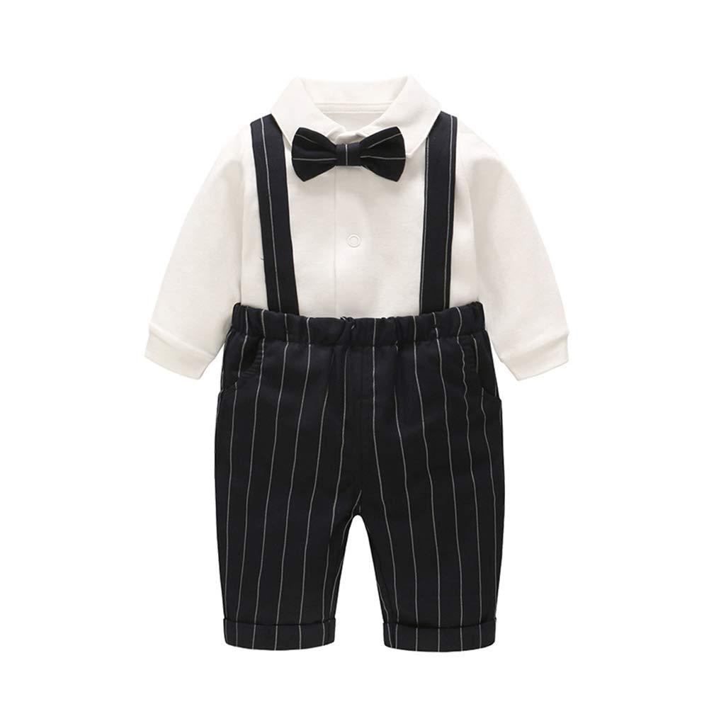 GLMTOU Baby Boys' 2 Piece Gentleman Outfits Suits Infant Long Sleeve Bib Pants Bow Tie Overalls Jumpsuit Clothes Set,18-24M