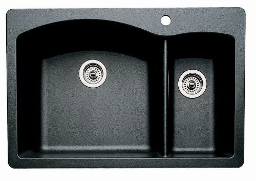 Blanco 440215 Diamond Anthracite 1 and 3/4 Bowl Silgranit Drop In Kitchen Sink,