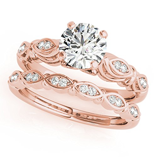 MauliJewels 1/2 Ct. Halo Diamond Engagement Bridal Ring Set 10K Solid Rose - Princess Engagement Diamond Ring Antique