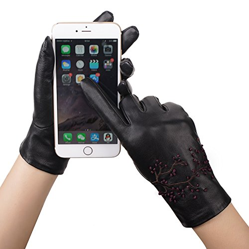 GSG Womens Embroidery Touchscreen Gloves Vivid Cherry Blossom Winter Driving Gloves Texting Italian Genuine Leather Black 8 by GSG (Image #1)