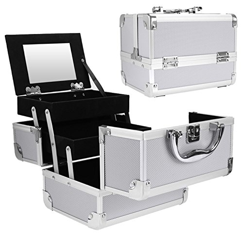 Pro Aluminum Rolling Makeup Case Salon Cosmetic Box Organizer Trolley Beauty Train Case,Silver