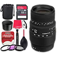 Sigma 70-300mm f/4-5.6 DG Macro Lens for Canon EOS with 32GB Ultra Pro Speed Class 10 SDHC Memory Card + 3pc Filter Kit (UV-FLD-CPL) + Deluxe Sleeve + Microfiber Cleaning Cloth - International Version