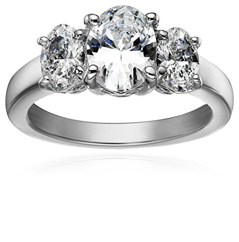 Platinum-Plated Sterling Silver Oval-Shape 3-Stone Ring made with Swarovski Zirconia (3 cttw), Size - 3 Fashion Jewelry Stone Collection