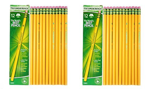 Dixon Ticonderoga Woodcase Pencil, H #3, Yellow Barrel - 24 Count (13883) by Dixon Ticonderoga