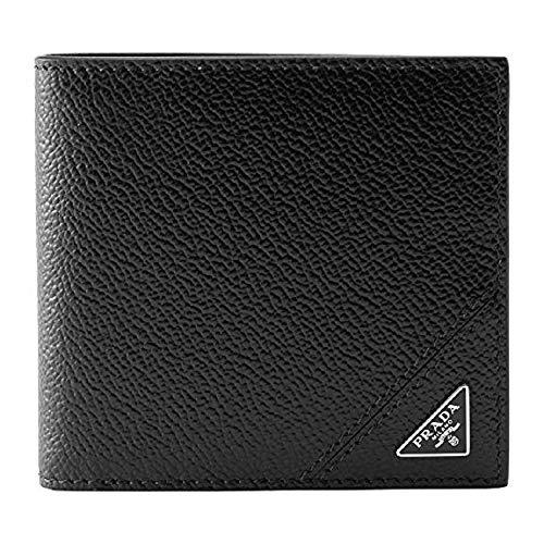Prada Mens Black Saffiano Leather Silver Triangle Logo Bifold Wallet 2MO912 (Prada Logo)