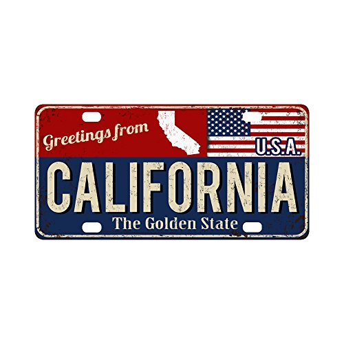 InterestPrint California the Gold State Rusty Metal Sign with American Flag Metal License Plate for Car, Metal Auto Tag for Woman Man, 12 x 6 Inch