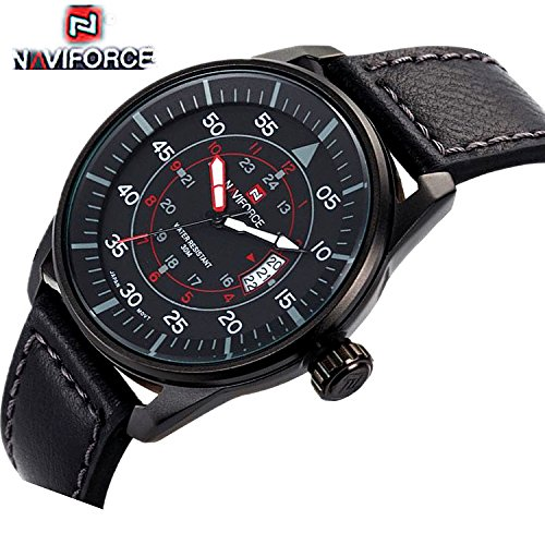 Relojes de los hombres naviforce reloj 9044 marca de lujo reloj de cuarzo buceo 30 m Casual ejército Militar deportes reloj de cuero Relogio Masculino: ...