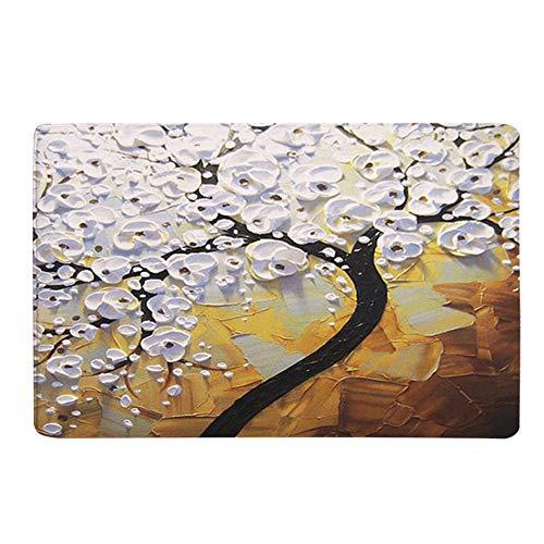 - Wffo Oil Painting Tree Bath Mats, Non-Slip Bedroom Carpets Door Mats 40x60 cm (C)