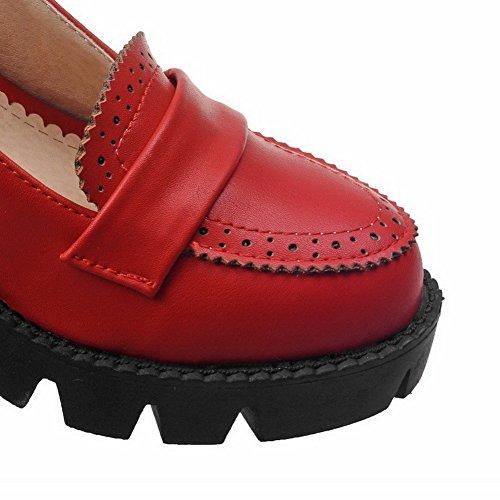 AllhqFashion Mujer Tacón Medio Material Suave Sólido Sin cordones Puntera Cerrada Puntera Redonda De salón Rojo