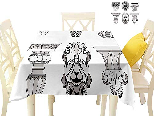 (cobeDecor Elegant Waterproof Spillproof Polyester Fabric Table Cover Roman Architectural Decorations Sphinx Lion and Column Antique Design W70 x L70, Indoor Outdoor Camping Picnic)
