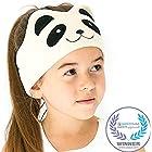 CozyPhones Kids Headphones Volume Limited Ultra-Thin Speakers Soft Fleece Headband - Perfect Children's Earphones Home Travel - Ivory Panda