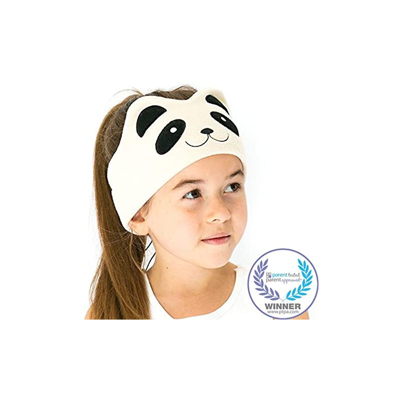 CozyPhones Kids Headphones Volume Limited Ultra-Thin Speakers Soft Fleece Headband - Perfect Children's Earphones Home Travel - Ivory Panda