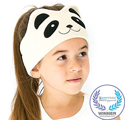 CozyPhones Kids Headphones Volume Limited with Ultra-Thin Speakers Soft Fleece Headband - Perfect Children's Earphones for Home and Travel - Ivory Panda