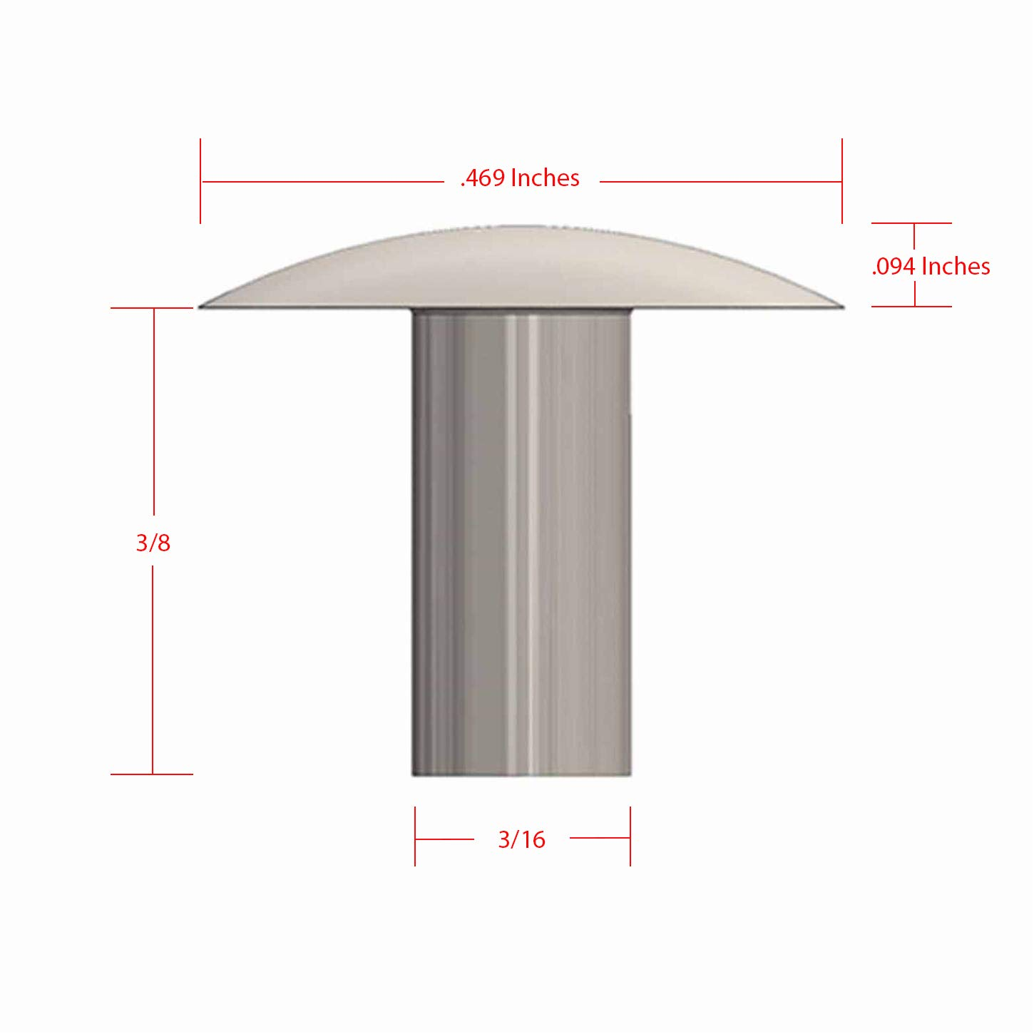 Metal Magery 3//16 Diameter X 3//8 Length Solid Aluminum Brazier Head Rivets Pack of 100