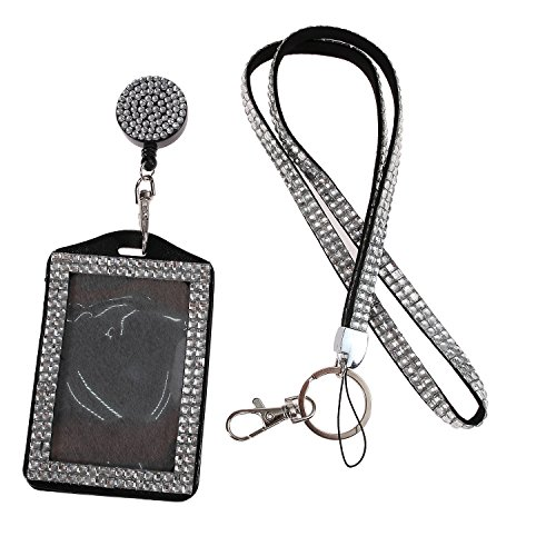 Purely Handmade Fashion Clear Bling Crystal Lanyard Cute Rhinestone Badge Holder With Necklace + Badge Reel + Vertical Business Card Holder ()