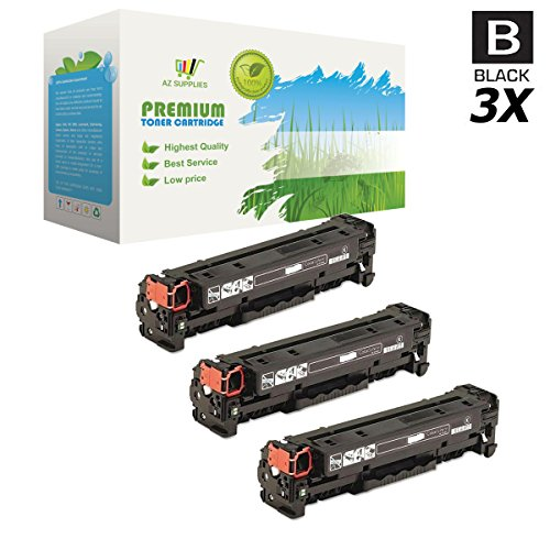 AZ SUPPLIES 3-Pack Toner | 40% More Print Yield |Compatible with Canon 116 Black for Canon i-Sensys LBP5050N, MF8030CN, MF8050CN, MF8080CW, HP Color Laserjet CM1312nfi MFP, CP1215, CP1518ni, CP1515n