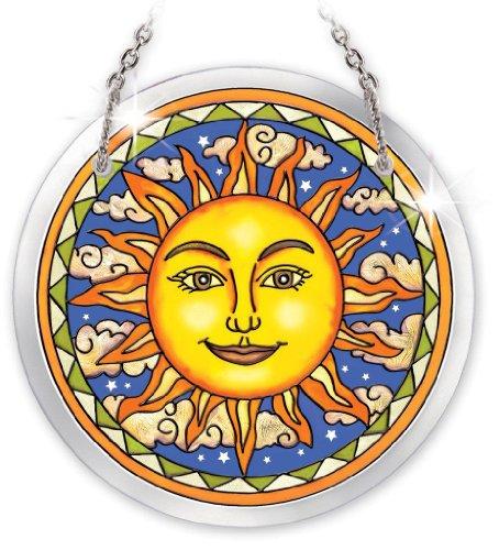 Amia Beveled Glass Circle Suncatcher Celestial Design, 3-3/4-Inch, Small