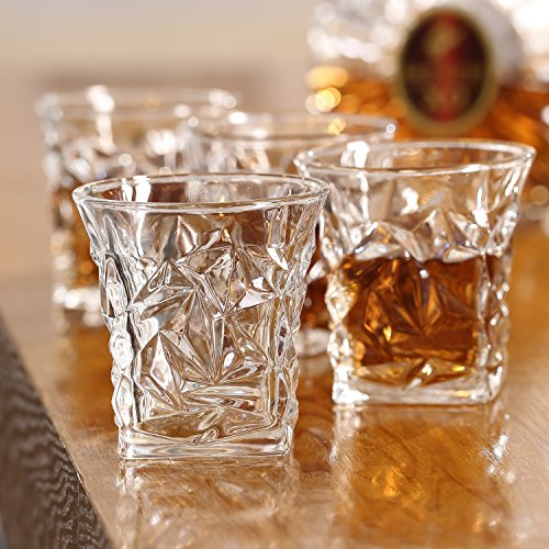 Set of 4 Jagged-Ice Textured Whiskey Tumblers 8 oz Old Fashioned Bourbon & Scotch Glasses in Gift -