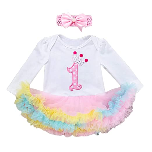 843ee1e6708 Sikye Baby Girl Outfit My 1st Birthday Romper Jumpsuit Tutu Dress + Headband  Gift Set (