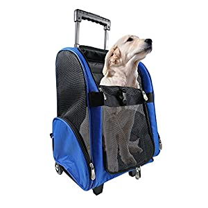 Pet Travel Rolling Luggage Carrier Bag Backpack for Dogs,Cats & small animals