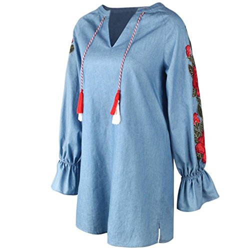 9ff673a746 Amazon.com  Hmlai Women Fashion Denim Embroidered Tassel Casual Long Sleeve  Party Mini Dress  Sports   Outdoors