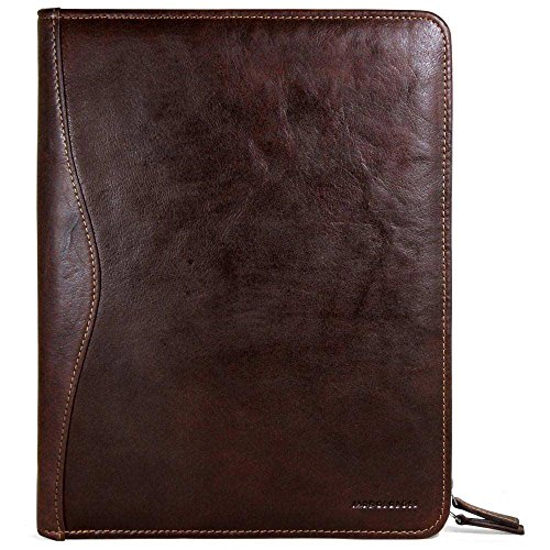 Jack Georges Voyager Letter Size Zip-Around Leather Writing Pad in Brown by Jack Georges
