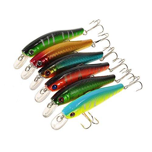 Price comparison product image Plastic Fishing Minnow Baits Wobbler Fishing Tackle wobbler ABS 3D eyes Fishing Hard Baits Artificial Bass 6pcs 8.5cm / 9g