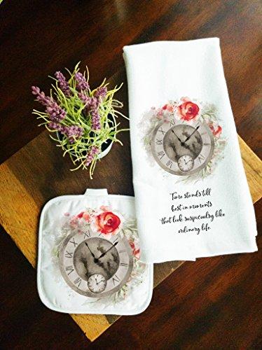 Kitchen Towel and Potholder Home Decor Gift Set Time Stands Still (Home Elegance Cottage)