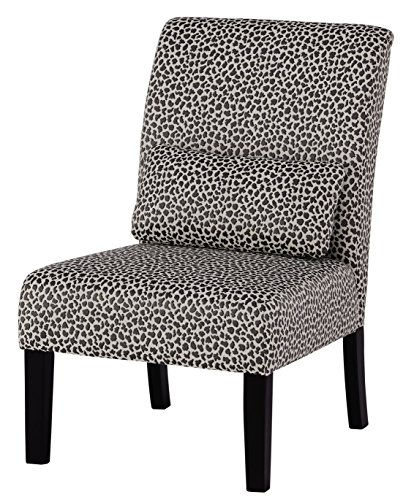 Ashley Furniture Signature Design - Sesto Accent Chair w/ Pillow - Contemporary - Cheetah Print in Ivory/Charcoal Gray - Black Finish Legs (Furniture Print Cheetah)