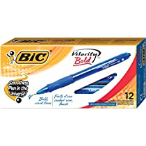 BIC Velocity Bold Ball Pens Retractable, Blue, 1.6mm Bold Point, Dozen Box