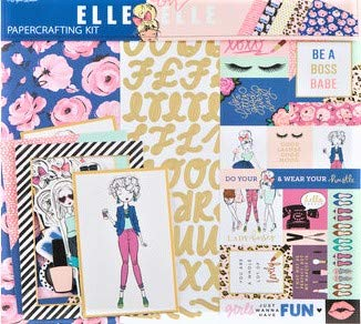 Elle Oh Elle 12x12 Scrapbook Page Kit, Gold Foil, Bossy Lady, Anime, Planners, Cards, Photo Albums.