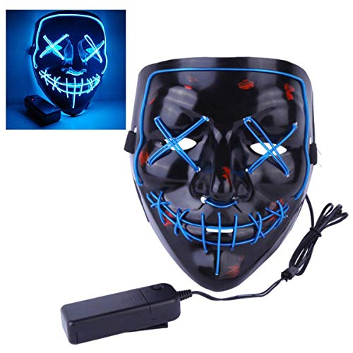 Halloween Mask LED Light up Mask for Halloween Festival Cosplay Halloween Costume Party Decorations (Blue) -